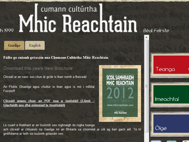 Visit the new Mhic Reachtain Irish Language website