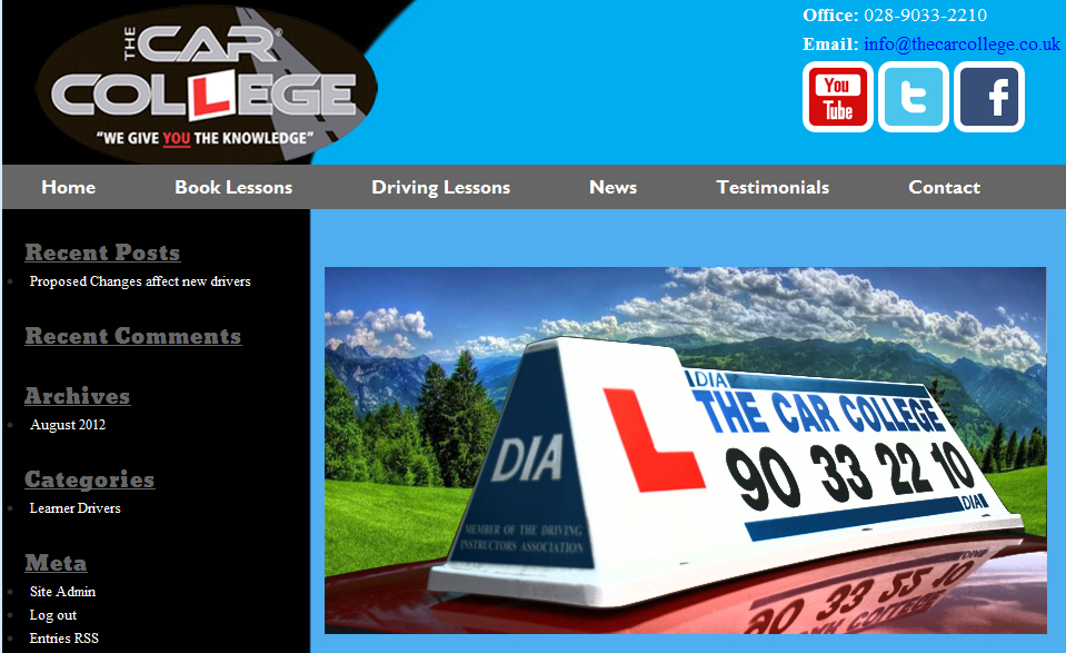 image of the car college homepage